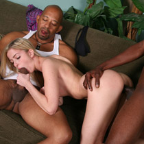 Abigaile Johnson getting shared by three black Guys from Blacks on Blondes