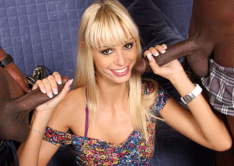 Sizzling hot blonde Erica Fontes pleasuring two blacks from Blacks on Blondes