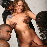 Horny brunette Kennedy Dream gangbanged by three black dudes from Blacks on Blondes
