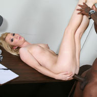 Nicki Blue shows her asshole to several black guys from Blacks on Blondes