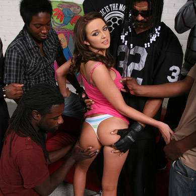 Nice titted Pressley Carter gets her hairy Pussy gangbanged from Blacks on Blondes