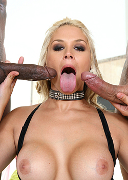 Two huge black cocks for a busty blonde babe on blacks on blondes blog